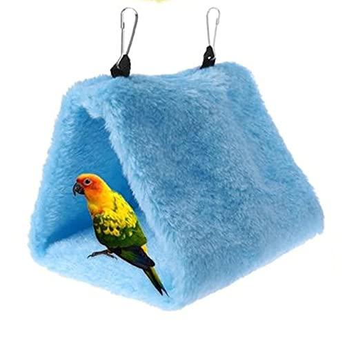 TuVN Cálido nido de pájaro, casa de cacatúa, casa de nido de pájaros, cálida y suave cama de felpa colgante hamaca de juguete cama para mascotas loro, cama de pájaro para jaula - azul, talla M