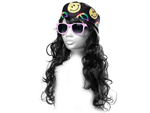 Alsino Déguisement Look Hippie (KV-83) Ensemble de 3 Accessoires: Perruque Longue Cheveux, Lunettes et Bandana Multicolore Peace and Love De qualité supérieure Ambiance Unisex Homme Femme