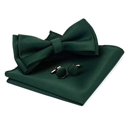 Dark Green Pre-tied Bow Tie Solid Bow Ties Adjustable Length Bowtie and Pocket Square Cufflink Sets (0577-02)