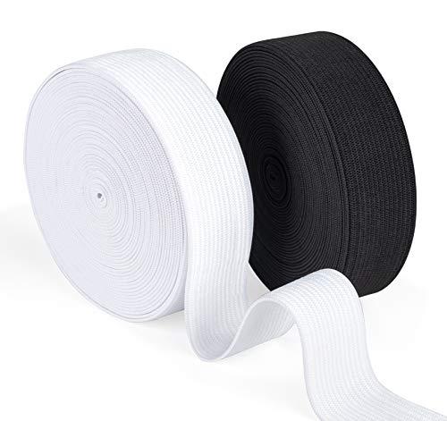 Agoer Gummiband 20mm Breit Weiß Schwarz - 2 Stück 12 Meter (13 Yards) Gummilitze Elastisches zum Nähen, Elastic Band für Haushalt DIY Handwerk (20 MM)