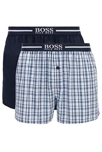 BOSS Herren NOS Boxer EW 2P Pyjama-Shorts aus Baumwoll-Popeline im Zweier-Pack