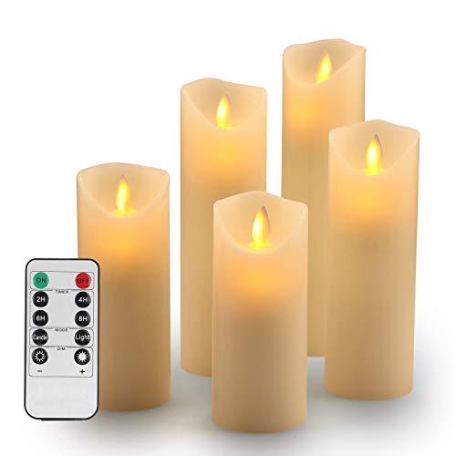 """OSHINE Candele LED, Candele batteria –Natale Senza Fiamma Candele Decorative: Classiche Candele Cilindriche in Vera Cera da 5.5"""",6"""", 6.5"""", 7"""" e 8"""" con Fiamma LED in Movimento e Telecomando da Timer"""