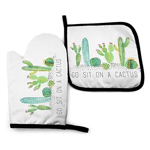 AOOEDM Oven Mitts and Pot Holders Sets Go Sit On A Cactus Oven Mitt Pot Holder Sets, Guantes aislantes Superficie antideslizante para cocinar de forma segura Olla Hornear Parrilla Barbacoa Etc Necesi