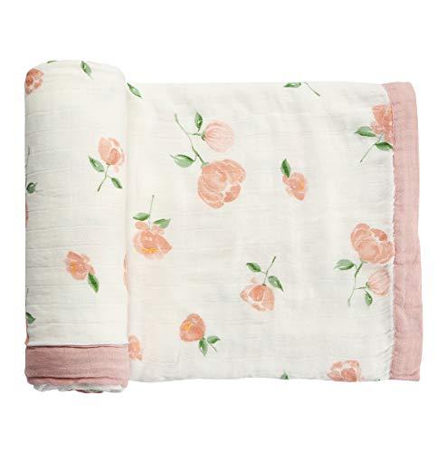 Monfish Muslin Baby Toddler Blanket- Large, Ultra-Soft Pink Rose Blanket for Girls- Bamboo Baby Everything Blanket-Two Layer Stroller Blanket (Pink Rose)