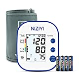 NIZIYI Blood Pressure Monitor Cuff Kit Upper Arm Style, Digital BP Meter with X-Large Display with Backlight and Voice Function,4 Batteries Included