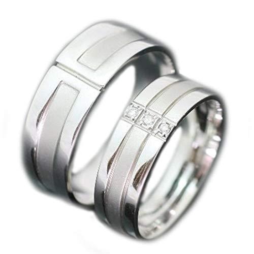 [ココカル]cococaru ペアリング シルバー リング2本セット ダイヤモンド マリッジリング 結婚指輪 日本製(レディースサイズ17号 メンズサイズ14号)