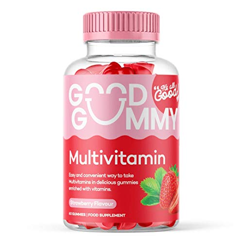Good Gummy Multivitamin | Vegan & Vegetarian | Chewable Strawberry Flavour Gummies | High Strength | Vitamin A B6 B12 C D E | with Biotin, Iodine & Zinc | Gluten Free | 60 Gummies