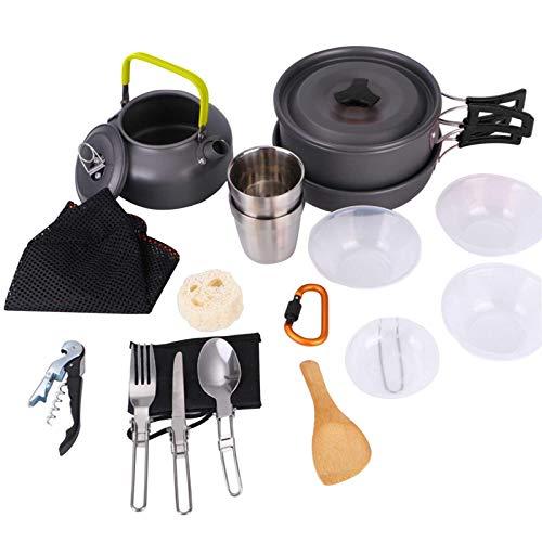 iBaste Juego de utensilios de cocina para camping, juego de utensilios de cocina para camping, ligero y portátil