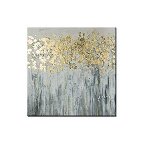 CYSHYH Gelbe Blumen Abstrakte Ölgemälde Handgemalte Wandkunst Home Decor Bild Moderne Handgemalte Ölgemälde Auf Leinwand 80Cmx80Cm