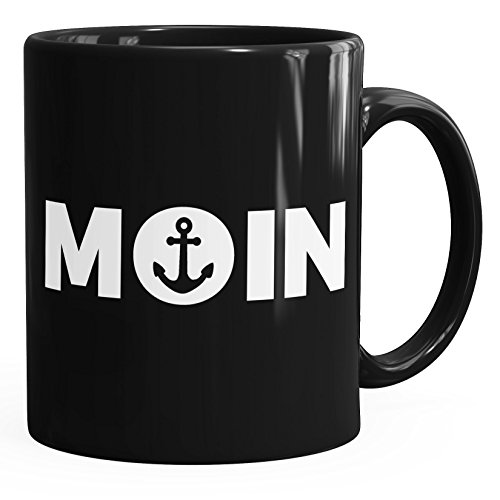 Kaffee-Tasse Moin mit Anker Frühstückstasse einfarbig MoonWorks® schwarz unisize