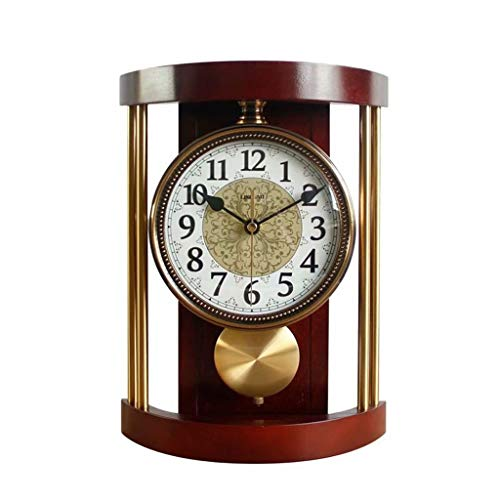 GZQDX Reloj de Mesa de Madera Maciza Retro Vintage Metal Reloj de Pared Sala de Estar Moda Moda Creativo Adornos Americanos Desk Reloj de Escritorio