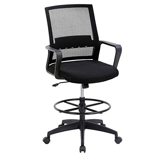 Drafting Chair Tall Office Desk Chair Height Adjustable Chair with Lumbar Support Ergonomic Mid-Back Mesh Drafting Chair with Foot Ring for Office,Home,(Black)