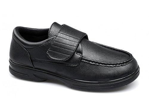 Dr Keller Tony Herren Klettverschluss Bar Komfort Weite Passform Schuhe Schwarz, Schwarz - schwarz - Größe: 44