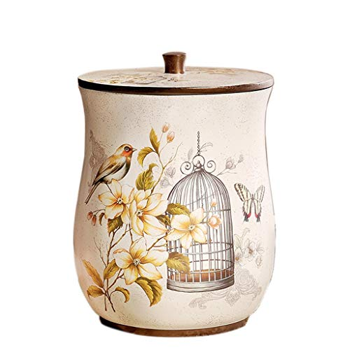 Zaza Bins Retro Style Small Trash Can Wastebasket,Decorative Trash Can Waste Paper Basket Waste Container Bin For Bathroom,Bedroom And More Decorative Urns (Color : White)
