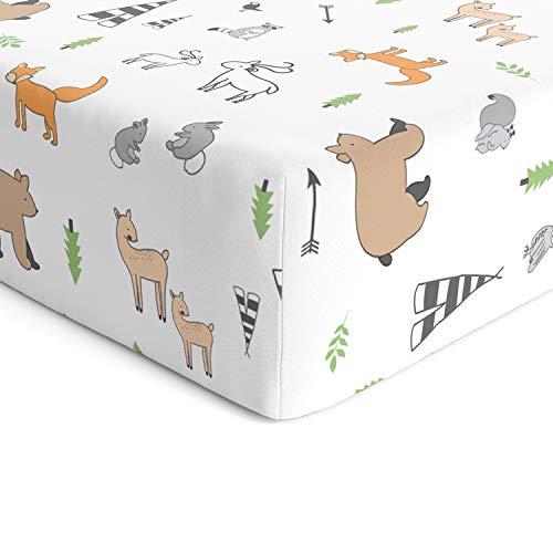 Cuddly Cubs Woodland - Sábana bajera de algodón para cuna de bebé, cuna de niña, sábana de cama para niños y niñas - Se adapta a camas estándar de 71 x 132 cm para cuna y colchón para niños pequeños