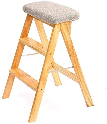 PLKZ Houten stap-kruk, ladder voor volwassenen, keuken, massief houten vouwladder, draagbare vouwen voetenbank, multifunctioneel, kleine kruk, bank, keuze uit hoogwaardig milieu
