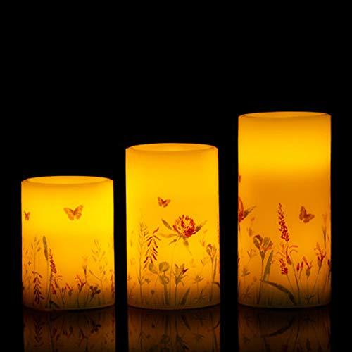 3 LED Echtwachskerzen im Set mit sommerlichem Motiv & Timer - Mit Blumen und Schmetterlinge verziert