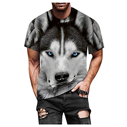 ZEZKT Camiseta para Hombres Athletic Pullover Short-Sleeve Mangas Cortas Impresas En 3D PatróN de Cabeza de Lobo Moda Slim Camisa Workout Shirts For Men (Gris, XL)