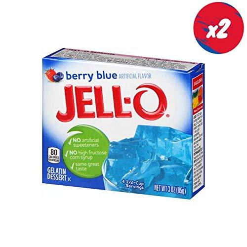 Jello Berry Blue Gelatin Dessert Jell-O 3oz 85g (2 packs) by Jell-O