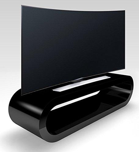 Zespoke Stile retrò Cerchio Grande Nero Lucido Porta TV/Armadietto Larghezza 110 cm