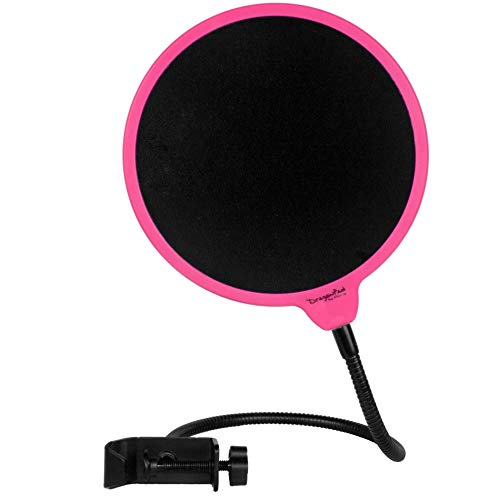 Dragonpad USA 6' Microphone Studio Pop Filter with Clamp - Pink/Black