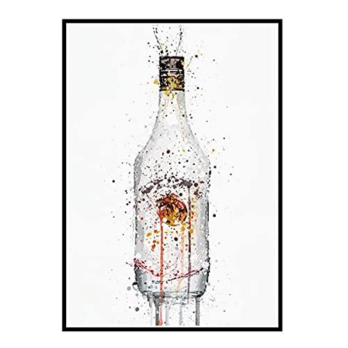 GUICAI Acuarela nórdica Botella de Vino Perfume Arte Lienzo Pintura Carteles Cuadros de Pared Cartel para decoración de Sala de Estar -50X70 cm sin Marco 1 Uds