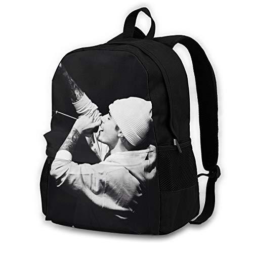 Cigarse Justin Bieber Stylish College School Backpack Water Resistant Casual Daypack Laptop Backpack For Student-Unisex Black negro negro One Size