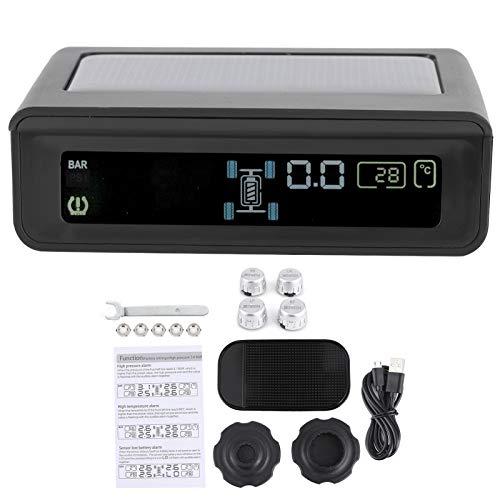 Ladieshow Detector de Monitor de presión de neumáticos inalámbrico TPMS, Sensor de 4 sensores, Sensor de presión de neumáticos de Carga de Panel Solar Impermeable