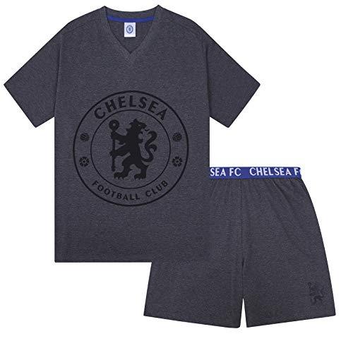 Chelsea FC - Herren Schlafanzug-Shorty - Offizielles Merchandise - Geschenk für Fußballfans - Grau - L