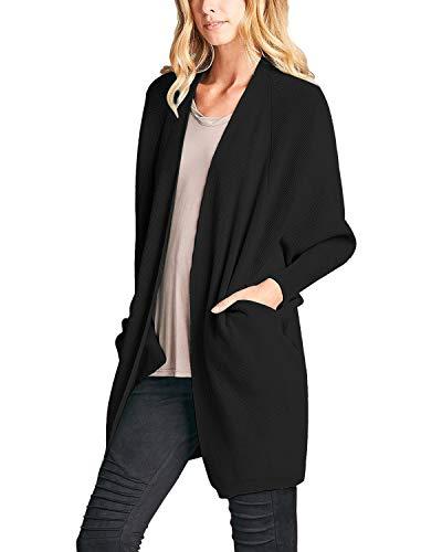 VONDA Cardigan Damen Lang Strickjacke Langarm Vorne Offen Sweaterjacke Größe Cardigans mit Tasche A-Schwarz S