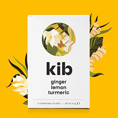 Kib Ginger, Lemongrass, Turmeric Herbal Tea (Pack of 4, Total 60 Tea Bags)