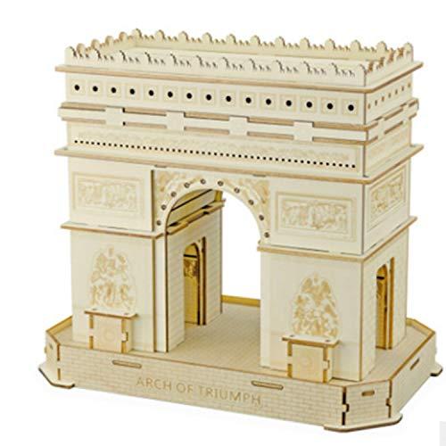 qingci Simulación Tridimensional Modelo Ensamblado 3D Rompecabezas De Madera XF-G014 Arco del Triunfo en París