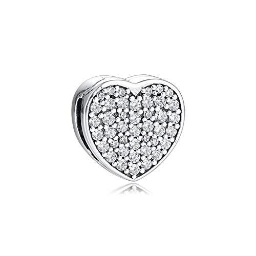 Pandora Charms para Mujeres Cuentas Plata De Ley 925 Reflexion Reflexions Smooth Love Heart Clip DIY Fabricación De Joyas Compatible con Pulseras Europeos Collars