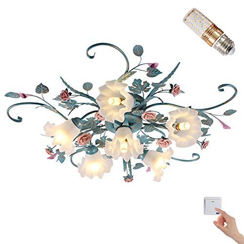 Antik Deckenleuchte Florentiner Landhausstil Blau Metall Braun Glasschirme Blumen 6 Flammig E14 x 60W Wohnzimmer lampe ∅ 90cm Kreative Zimmerlampe Blume-Shape Deckenlamp Opalglas Lampenschirm