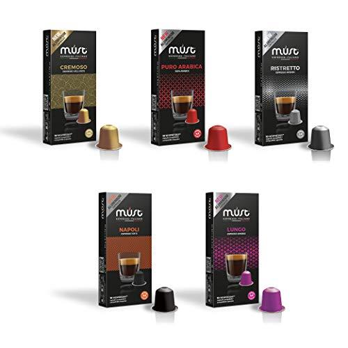 MUST 100 Kaffeekapseln aus 100% Aluminium Recycelbar Variety Pack Gemischt, 10 Packungen mit 10 Kapseln, Kompatibel mit Nespresso Maschine, Made in Italy