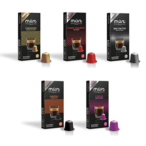 MUST 50 Cápsulas de Café en Aluminio 100% Reciclable Hasta el Infinito, Variety Pack Degustación 5 Paquete de 10 Cápsulas Compatibles con las Cápsulas de la Máquina Nespresso Made in Italy