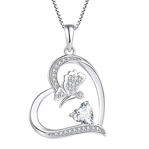 FJ Collar con colgante de mariposa de plata de ley 925 con forma de corazón y circonita cúbica,...