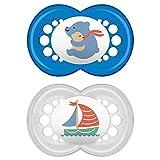 MAM Chupete Original S160 - Chupete con Tetina de Látex, para Bebé de 6+ Meses, con Caja Auto Esterilizadora, Azul, 2 Unidades