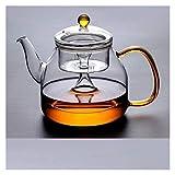Tetera de cristal para cocinar al vapor, tetera para el hogar espesar el calor de vapor hervidor de cerámica (color: A)