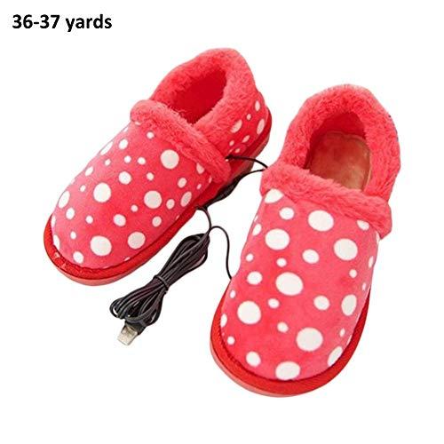 Dames verwarmde schoenen afneembare wasbare USB-oplaadbare veilige verwarming voetwarmer platte schoenen geschikt voor winter 36-37 yards B