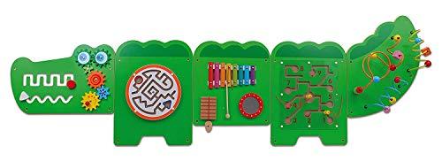VIGA Krokodil-Wandspiel, 5-teilig, unterschiedliche Spielelemente, Motorik, Kleinkinder, Koordination, inkl. Montagematerial