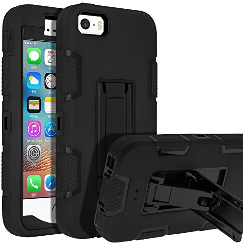 LUCKYCAT 5s iPhone Case,iPhone SE Case,iPhone 5 Case,SENON Shockproof Anti-Scratch Anti-Fingerprint Kickstand Protective Case Cover for Apple iPhone SE/5S/5, Black