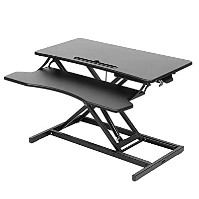 Standing Desk Converter X-Shape Height Adjustable Sit Stand Tabletop Desk Standing Desk Table Laptop & Computer Monitor Workstation with Gas Spring Handle for Home Office Black, 31.5 inches Wide