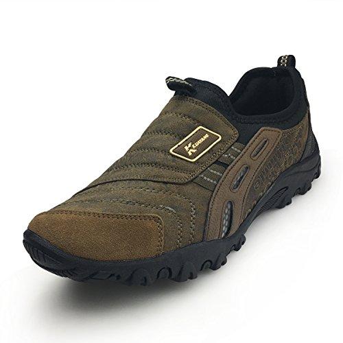 XiaoYouYu Men Slip On Sneaker - Outdoor Hiking Shoe Sport Trail Running Shoes Casual Trekking Shoes AAX004 Brown, 10 D(M) US
