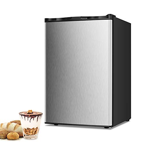 Joy Pebble Free Standing Upright Freezer with Removable Shelf, Adjustable Thermostat, Compact Reversible Single Door Vertical Freezers for Home/Hotel/Apartment/Office (Silver, 3.0 cu.ft)