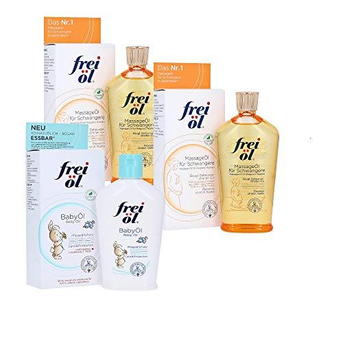 MassageÖl für Schwangere (2x125ml) gratis Babyöl (125ml) gegen Schwangerschaftsstreifen und für schöneres Hautbild