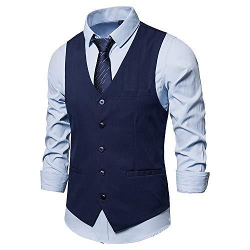 Hombre Europeo y Americano Simple Solo-Breasted Caballero Traje Color Sólido Chaleco Talla Europea