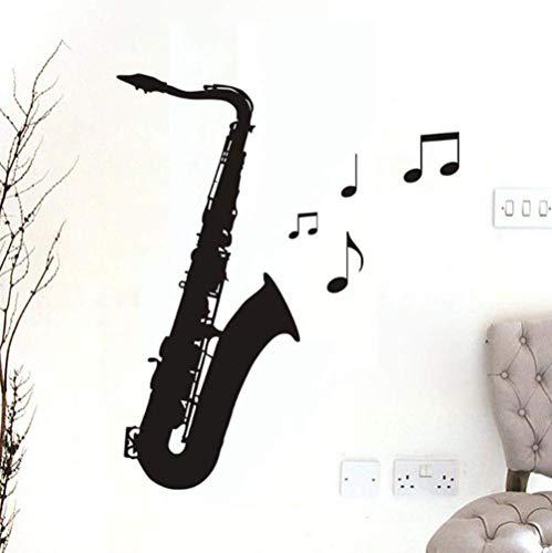 Muursticker Applique muurschildering Meisje jongen Vinyl voor Thuis Art Deco Prijs Saxofoon Muziek 26x59cm