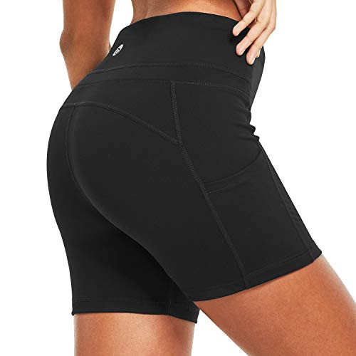 BALEAF Women's 4 Inches Compression Yoga Volleyball Shorts Squate Proof Athletic Workout Shorts Side Pockets Black Size M