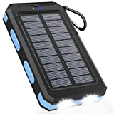Solar Charger 20000mAh Portable Solar Power Bankfor Cell Phones, CampingWaterproof External Battery Power Pack with Dual USB/LED Flashlight, Solar Phone ChargerforAll Smartphone and 5V Devices